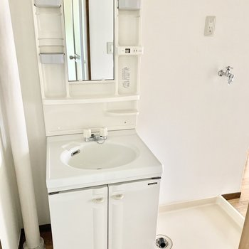 独立洗面台と洗濯機があるスペースは