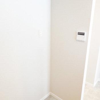 冷蔵庫スペースは後ろ側に。ラックも置けそうです。