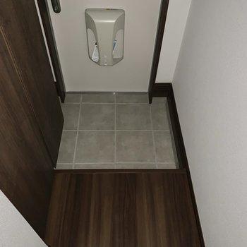 お掃除しやすそうな素材の玄関です。※写真は2階の反転間取り別部屋のものです
