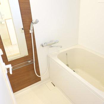 お風呂は左手に。濃い木目のパネルが良い目の保養に。
