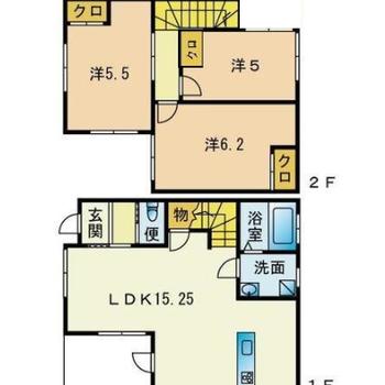 4人家族でも広々住める2階建ての3LDK。(※実際は反転間取りです)