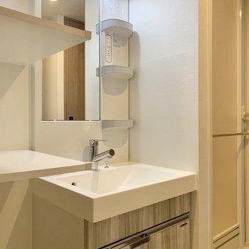 洗面台の特徴はなんといってもサイドの大きな棚。※写真は前回募集時のものです