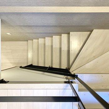 階段を下りて地下のスペースへ向かいましょう。