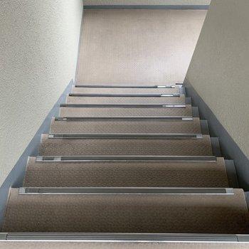 階段は家具の搬入に困らなさそうな広さ。
