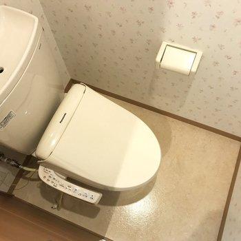 ウォッシュレット付きの機能的なトイレです。