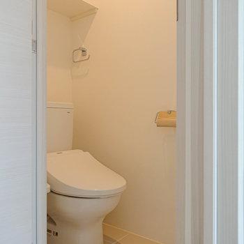 【1F】トイレは1階にあるんですね。温水洗浄便座付きのトイレです。