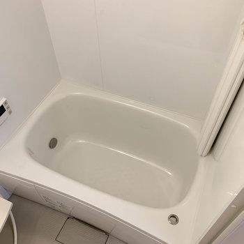 追い炊き付き。風呂葢の収納場所があるのも良い。