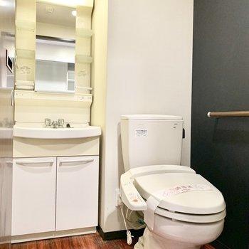 洗面台とトイレが同じ場所にあります。
