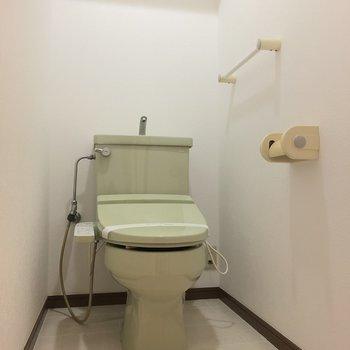 トイレは淡いグリーンです。
