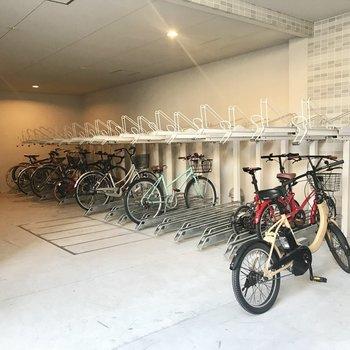 【共用部】バイク置き場を奥まで進むと駐輪場です。