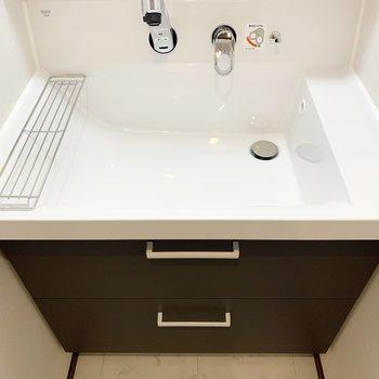 洗面台は広々。蛇口が伸びるので掃除も楽々です。