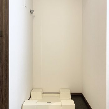 洗面台の隣に洗濯機置き場があります。