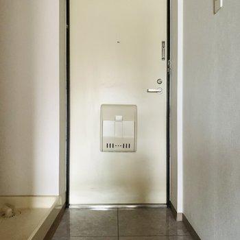 玄関スペース。靴箱はありませんが、たたきが広いのでコンパクトなものなら置けそう。