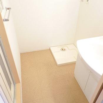 脱衣所はスペースが広くてゆったり。奥には洗濯機置き場。