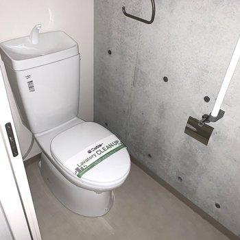 おトイレは玄関脇に。こちらもコンクリート打放し。(※フラッシュ撮影です)