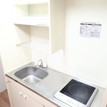 水切りラックや食器棚、調理スペースもあり、自炊もできそうな設備。