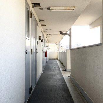 共用廊下は綺麗なアイスブルーのドアの並ぶ、オープンな空間。