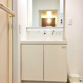 入ってすぐ左に大きな洗面台。ワンタッチ操作が楽ちん。