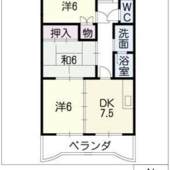 間取りは個室の多い3DK。