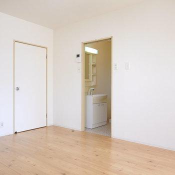 左が玄関へ、右が脱衣所へと通じています。