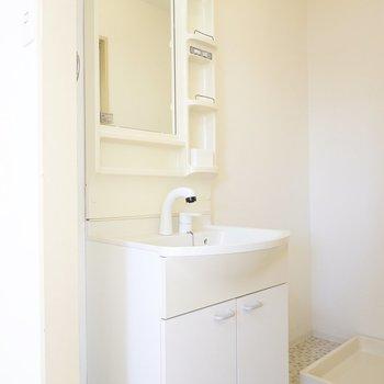 左には便利な棚付きの洗面台。