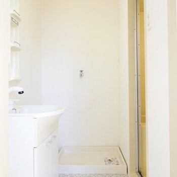 脱衣所正面には洗濯機置き場。