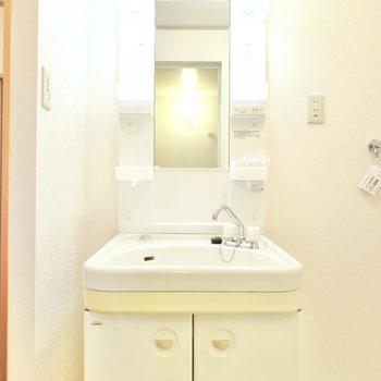 その隣には棚付きの洗面台。