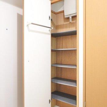 一人暮らしにしては大容量の靴箱。扉の内側には傘などをかけられるバー付き。