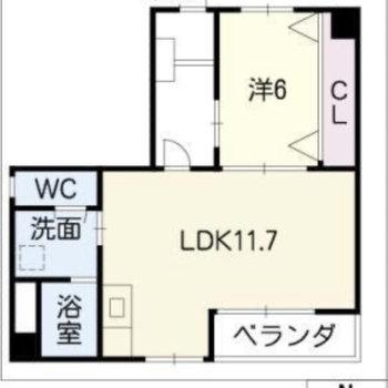 ひとりでもふたりでも暮らせる広さのお部屋です。