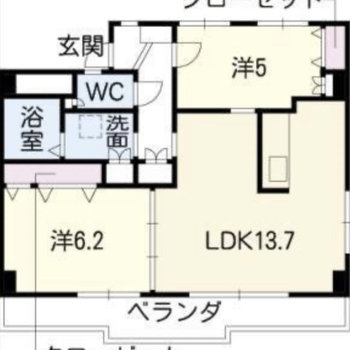 2LDKのお部屋です。