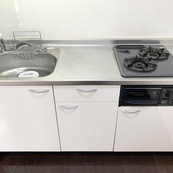 自炊派にも嬉しいグリル付2口ガスコンロのシステムキッチン。