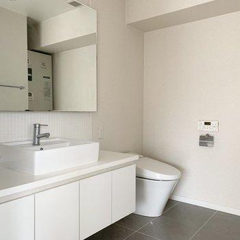 脱衣所空間に洗面台とおトイレもひとまとめ。(※写真はクリーニング前のものです)