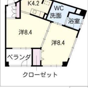 間取り図も変わった形!2Kのお部屋です。