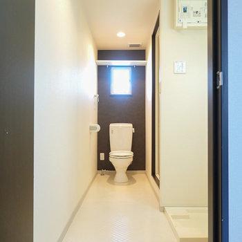 脱衣所のドアを開けると、奥にトイレが鎮座してらっしゃいます。