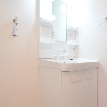 入ってすぐ右には棚付きの洗面台と洗濯機置き場がありサッと使える。