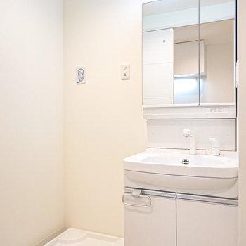脱衣所には洗面台と洗濯機置場。大きな鏡で毎朝の身支度が捗りそう。