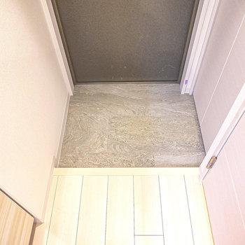 タイル模様がカッコいい玄関。靴箱は右の扉の中に。