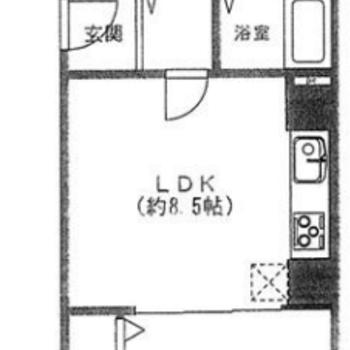 横長間取りの1LDKのお部屋。
