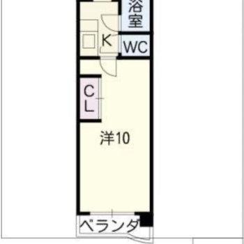 お部屋は1K。
