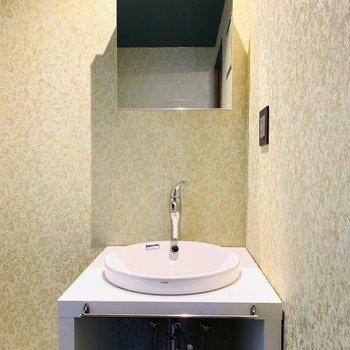 またまた雰囲気の違うユーティリティ。存在感のある洗面台。