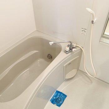 浴槽が広めなバスルーム。子供と一緒に入ってもゆったりできそうです。