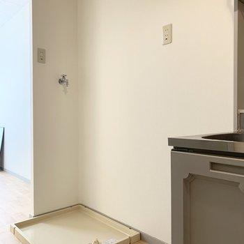 並んで冷蔵庫置場と洗濯機置場。