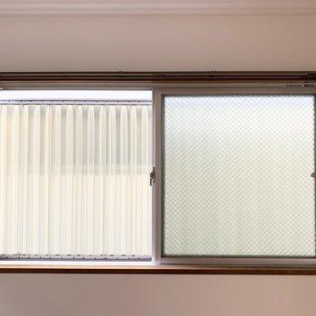 窓の外は目隠しのパネル付。