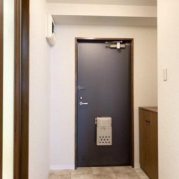 さて、室内の最後は玄関を。ドアの幅よりちょっと広くなった空間です。