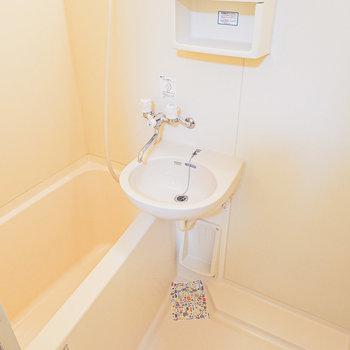 2点セットで独立洗面台はありませんが、シャワーでサッとお掃除できます。