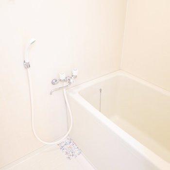 正面にはシンプルですが白くて落ち着くお風呂があります。