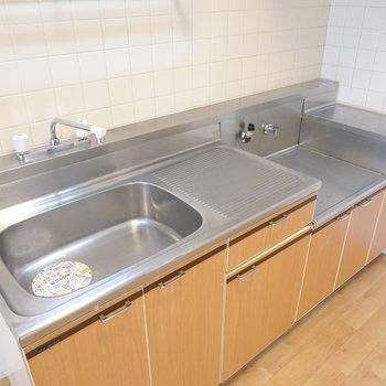 ゆったり確保されたシンクと調理スペース。コンロは持ち込み式です。