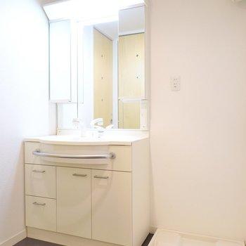 鏡のうんと大きな洗面台で毎朝の身支度を。