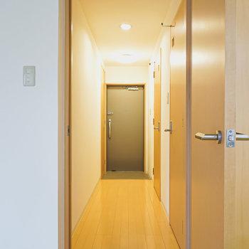 キッチン横のドアから廊下へ。右手前がトイレ。右奥が脱衣所。