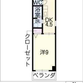 間取りは1K。廊下が広めなのでDKにもできるかも。